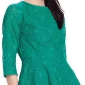 Anthropologie Green Lace Peplum, Lined Top, Size 4